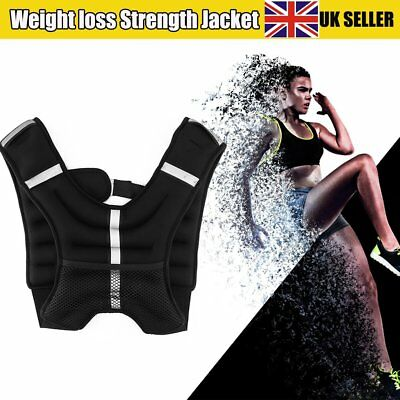 Black Weighted Vest 5kg Weight Loss Fitness Exercise Gym Running Jacket UK Stock