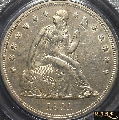 1841 AU55 PCGS 1$ Seated Liberty, Bright Lustrous Tone-Free Reflective Fields!