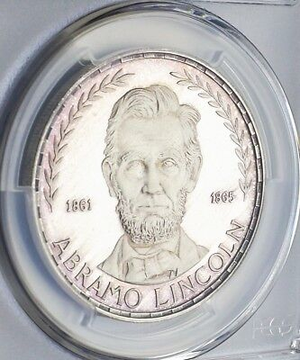1970 Equatorial Guinea 75 Pesetas Lincoln Silver Proof Pcgs 67Dcam Color Rev