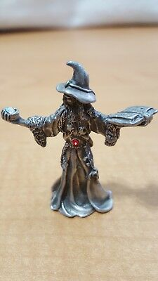 Vintage Pewter Wizard Holding Spell Book by Ridolphi/Yarhe '91