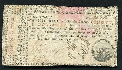 Ga-123 May 4, 1778 $30 Thirty Dollars Georgia Colonial Currency Note Rare