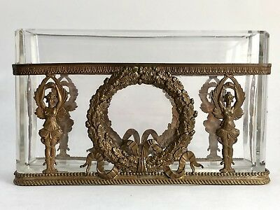 Antique Vintage Art Nouveau French Bronze Gilded Dore Jardiniere Crystal Insert