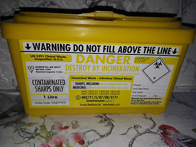 NEW Sharpsguard - Clinical Waste Yellow Container / Bin 1 Litre  - Alvita