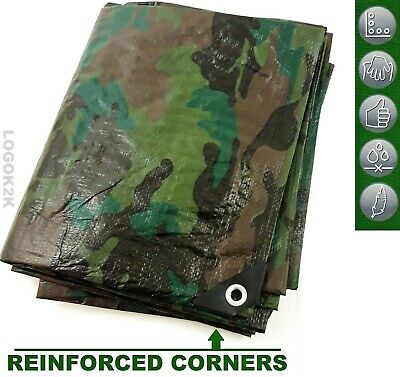Camo Camouflage Tarpaulin Strong Army Waterproof Camping Ground Sheet & Outdoor