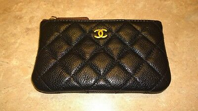 76bea48bb8fa CHANEL BLACK QUILTED Mini O Case Pouch In Soft Caviar Leather ...