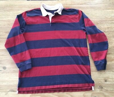 176b4273 Vintage LL Bean Rugby Long Sleeve Polo Shirt Men's XL Tall Blue & Red Stripe