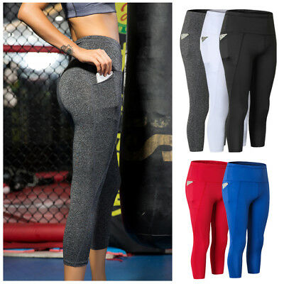 Womens Compression 3/4 Pants High Waist Athletic Running Yoga Tights with Pocket