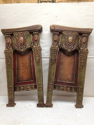 2 Antique Ornate Cast Iron/Wood Art Deco Theater Seat End Side Panel Arch Salvag