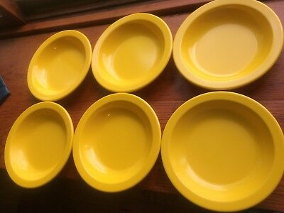 """6 Dallas Ware Golden Yellow 1 white 7 3/8"""" Cereal Soup Salad Bowls B75 Melamine"""