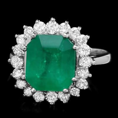 Certified 3.85cttw Emerald 1.00cttw Diamond 14KT White Gold Ring