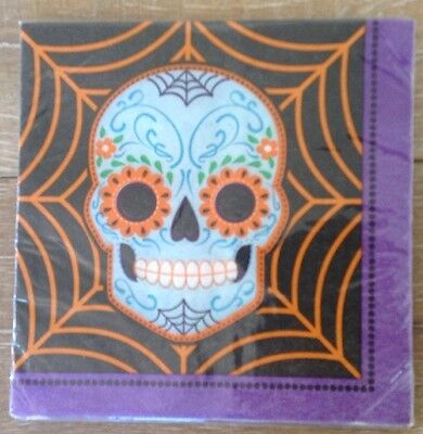 Halloween Napkins Skull Skeleton Spider Web Party Luncheon 18 Ct New Colorful