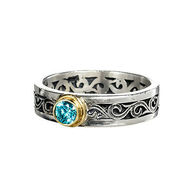 Gerochristo 2775N ~ Solid Gold & Sterling Silver with Topaz Medieval Band Ring