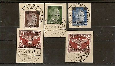 German Occupation Of Kurland (Courland) 1945 (20 April) Set Of 5 Fu On Pieces