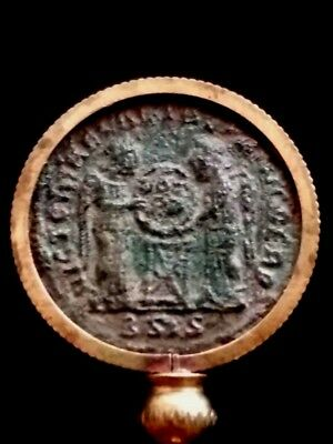 Constantine Great Genuine AE3 Ancient Roman Coin Altar/2 Victory Pendant Beauty