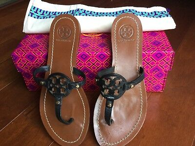 639a0b8ee9844e TORY BURCH MINI Miller Black Leather Sandals Thongs Flats Sz 6 M ...