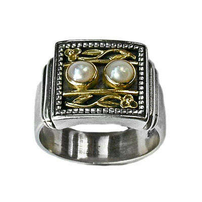 Gerochristo 2198 ~ Solid Gold, Sterling Silver with Pearl Medieval Cocktail Ring