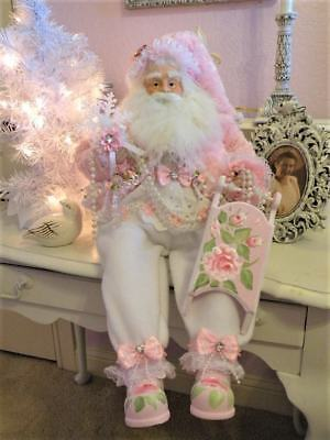 OOAK Shabby Chic Sitting Santa Pink Rose Sled XMAS Victorian Romantic Decor 25""