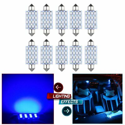 10X Blue SMD LED Festoon 42mm 16SMD Car Dome Map Interior Cargo Light Bulbs 12V