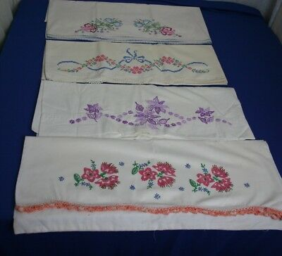 Pretty Vintage Pillowcases With Embroidered Flowers  And Lace 4 Pillowcases lot