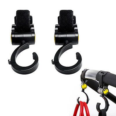 2Pcs Baby Stroller Pushchair Pram Mommy Hanger Hooks Accessories Black.