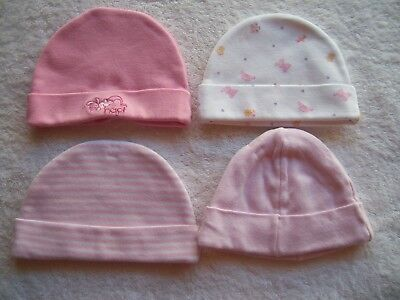 Baby Girl's Cotton Knit Winter Hat x 4 Size 0000-000 VGUC