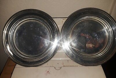 2 Vintage Silver Alloy Dish Candle Holder by White Barn Candle Co. Made in India