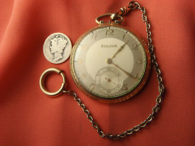 ANTIQUE Bulova 10K Rolled Gold Pocket Watch 17 Jewel with Chain Lot 264