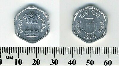 India 1965 (B) - 3 Paise Aluminum Coin - Asoka lion pedestal - 6-sided