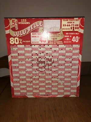VINTAGE PUNCHED 5 Cent Punch Board Gambling Bar Game LULU-BELLE Decor
