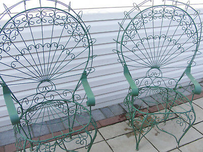 Pair of 2 Vintage Fancy Twisted Wire Peacock Fan Back Chairs