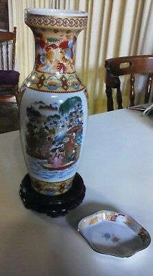 #SUNDAY MARKET# ASIAN COLLECTABLES: SATSUMA Moriage GEISHA Vase + Pin Dish