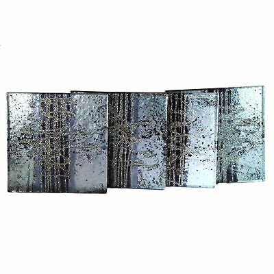 Glass Coasters set of 4 cosmos, black and silver by Aspire Art Glass (f0K)