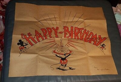 "RARE early 1930s Mickey Mouse birthday card folds out 22"" × 18"" disney Hall Bros"