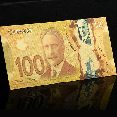 Canada $100 Dollar Polymer Banknote Colored Gold Foil Money For Collection