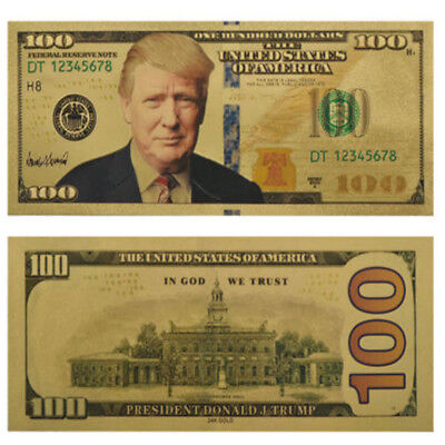 $100 US Dollar President Donald Trump New Colorized Bill Gold Foil Banknote