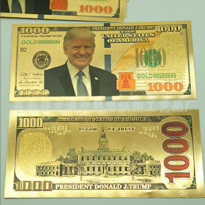 US $1000 Dollar President Donald Trump New Colorized Bill Gold Foil Banknote