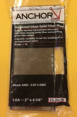 """Lot of 4! Anchor Hardened Gold Filter Welding Plate Lens 2"""" x 4-1/4"""" Shade 10"""