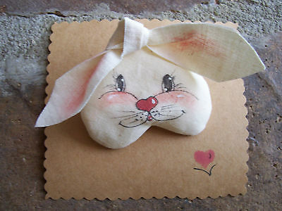 Bunny Pin Handpainted Rabbit Brooch Primitive Country