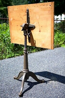 Antique VTG 1900s Cast Iron Wood Industrial Drafting Table Base Articulating Old