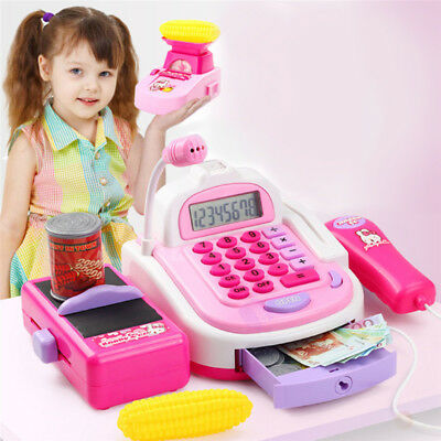Kids Pretend Role Play Supermarket Toy Cash Register Plus Electronic Scale Gift