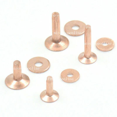 Solid Red Copper Rivets Burrs Permanent Gauge Tack Fasteners 4 Size