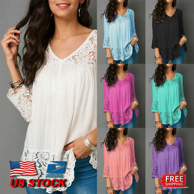 US Womens 3/4 Sleeve Lace V-neck Baggy T Shirt Lady Casual Tops Blouse Plus Size