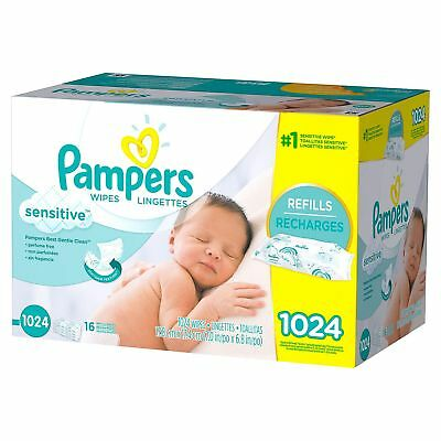 PAMPERS Sensitive Baby Wipes 1024ct - Perfume Free - Fast Free Shipping