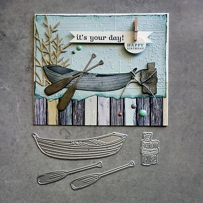 shopaperartz ROW BOAT WITH OARS MALE BIRTHDAY SYMPATHY CUTTING DIE CARDMAKING