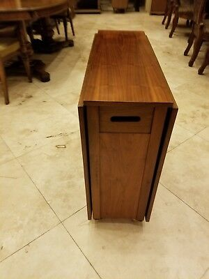 Vintage Mid Century Modern Gateleg Dropleaf Teak Compact Dining Table W/ Drawer