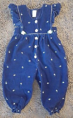 Vintage*Navy Blue&Pink Romper*Baby Girl Size 24mos*GVC