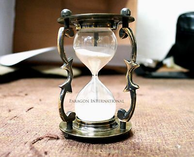 "Solid Brass Handcrafted Hour Glass Sand timer 6"" Indian Handcrafted Hourglass 6"""