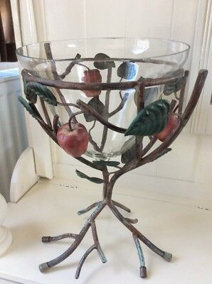 Bell Shaped Vase On A Beautiful And Unusual Metal Tree Like Stand With Apples#We