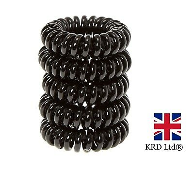 6 x BLACK SPIRAL HAIR BOBBLES Girls Ponytail Invisible Bobble School Bands UK