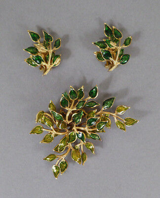 Schmuckset Ohrclips Brosche GROSSE 1967 Jewelry Set Ear Clips Brooch Germany 60s